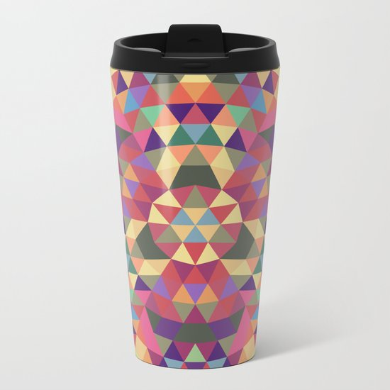 Tribal triangle mandala Metal Travel Mug