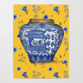 JAPANESE VASE ON YELLOW AND BLUE Poster