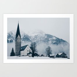 Christmas Winter Church (Color) Art Print