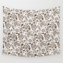 Mehndi or Henna (Brown and White) Wall Tapestry