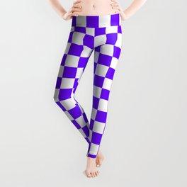 Small Checkered - White and Indigo Violet Leggings