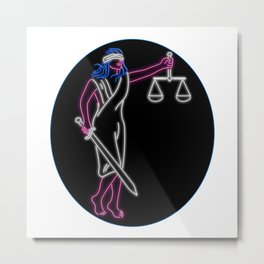 Lady Justice Holding Sword and Balance Oval Neon Sign Metal Print