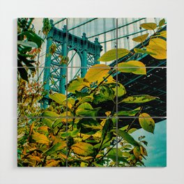 Manhattan Bridge Meets Autumn Wood Wall Art