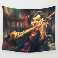 sherlock Wall Tapestries featuring Virtuoso by Alice X. Zhang