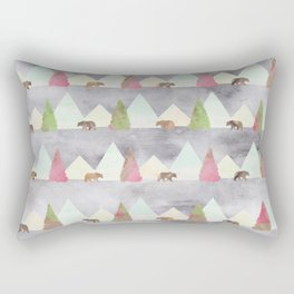 Bear in the Forest Rustic Cabin Theme Rectangular Pillow