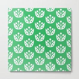 Mid Century Modern Abstract Flower Pattern 821 Green Metal Print