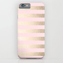 Stripes White Gold Sands on Pink Flamingo iPhone Case