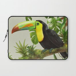 Toucans and Bromeliads (Canvas Background) Laptop Sleeve
