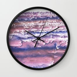 Rosy blue streaked watercolor painting Wall Clock