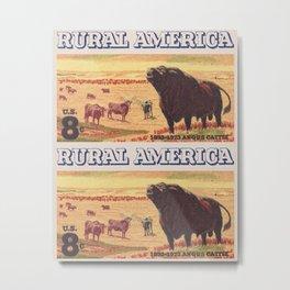 Rural America cattles herd vintage US post stamp Metal Print