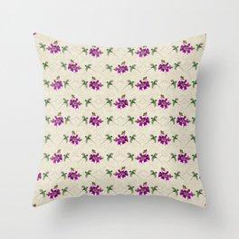 Hummingbirds & Bougainvillea Vintage Pattern Throw Pillow