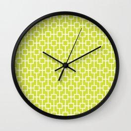 Pear Green Lattice Pattern Wall Clock