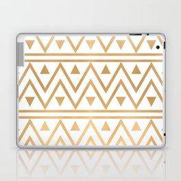 White & Gold Chevron Pattern Laptop & iPad Skin