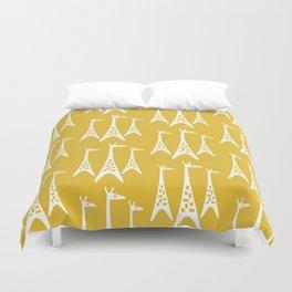 Mid Century Modern Giraffe Pattern 221 Mustard Yellow Duvet Cover