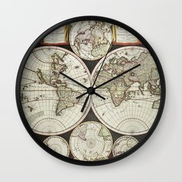 Vintage map of the World 1696 Wall Clock