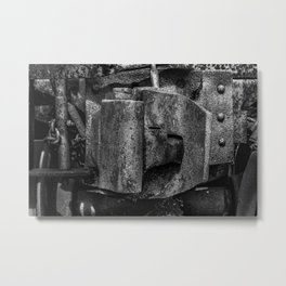 Railway Coupler Close Up Rusty Black and White Railroad Metal Print