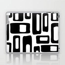 Retro Mid Century Modern Abstract Pattern 336 Black and White Laptop & iPad Skin