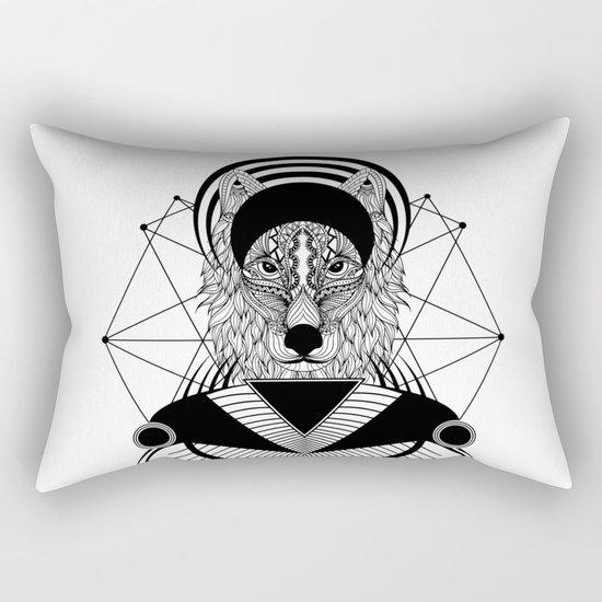 Zentangle Wolf Rectangular Pillow