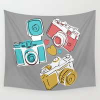 cameras Wall Tapestries featuring handrawn vintage cameras  grey by studiomarshallarts