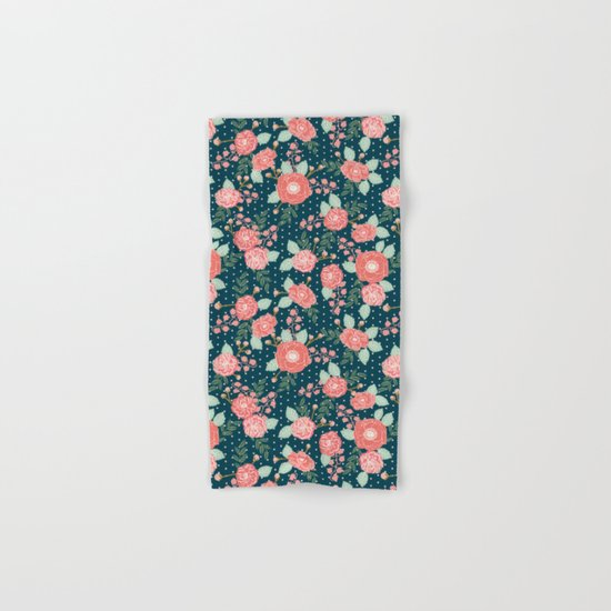 Florals boho modern watercolor blooming blossom garden nature summer spring navy pink white Hand & Bath Towel