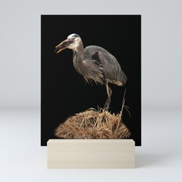 Heron Eating the Mole Mini Art Print