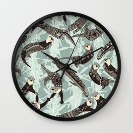 sea otters silver Wall Clock