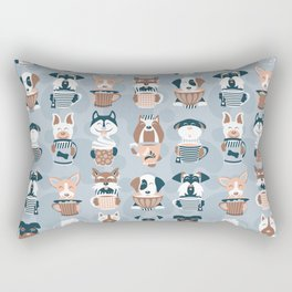 Doggie Coffee and Tea Time I // blue grey Rectangular Pillow