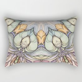 vintage flowers hand drawn and  kaleidoscope mandala Rectangular Pillow