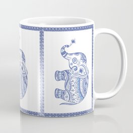 Blue Tones Faux Glitter Cute Elephant Coffee Mug