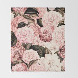 Vintage & Shabby Chic Pink Floral camellia flowers watercolor pattern Throw Blanket