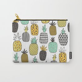Pineapple Geometric on White Carry-All Pouch
