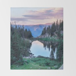 Hikers Bliss Perfect Scenic Nature View \ Mountain Lake Sunset Beautiful Backpacking Landscape Photo Throw Blanket