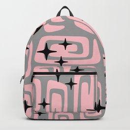 Mid Century Modern Cosmic Galaxies 438 Pink and Gray Backpack