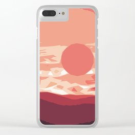 Burning sunset, splendid mountain landscape in pink shades Clear iPhone Case