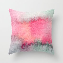 Blue and Pink Marble Watercolor Throw Pillow