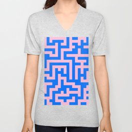 Cotton Candy Pink and Brandeis Blue Labyrinth Unisex V-Neck
