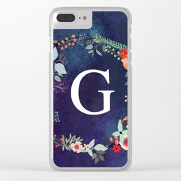 Personalized Monogram Initial Letter G Floral Wreath Artwork Clear iPhone Case