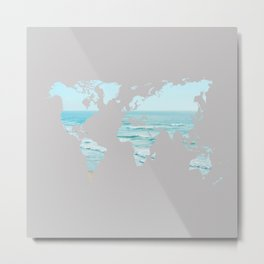 Ocean Map Grey Metal Print