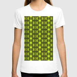 Fashionable large floral from small yellow intersecting squares in stripes dark cage. T-shirt