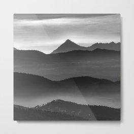 """Misty mountains"". Sunset. BW Metal Print"
