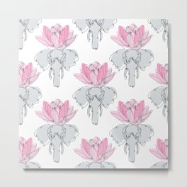 Elephants and Lotus Flowers Metal Print