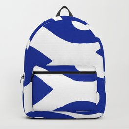 Blue and White Pattern Fish Eye Design Backpack