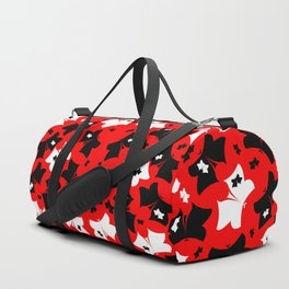 The pattern of butterflies. White and black butterfly on a red background. Duffle Bag