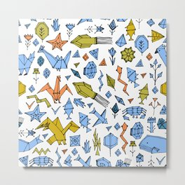 Marine animals and plants, Stylized origami Metal Print