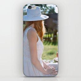 girl in white iPhone Skin