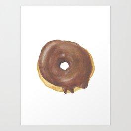 Chocolate Iced Doughnut Art Print