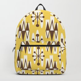 Retro Mid Century Modern Atomic Triangles 728 Brown and Yellow Backpack