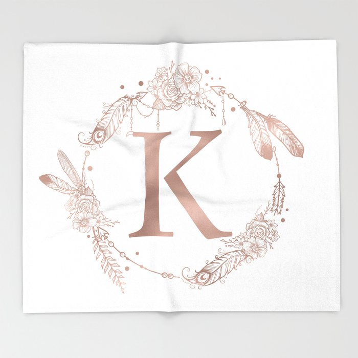 letter k rose gold pink initial monogram throw blanket by