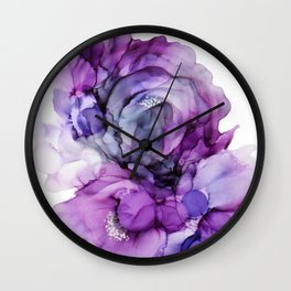 Alcohol Ink - Lavender Lisianthus Wall Clock