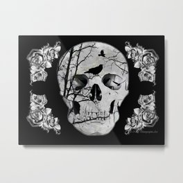 Gothic Skull Crow Rose A353 Metal Print